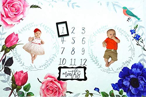 Baby Monthly Milestone Blanket, 40×60 Inches Infant First Year Flowers Milestone Blanket for Twins, Flannel Fleece,Photography Backdrop Photo Prop for Boy Girl