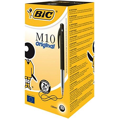 BIC - Penna a sfera a scatto 'M10 clic', ampiezza tratto: 1 mm, confezione da 50 pezzi, colore: Nero