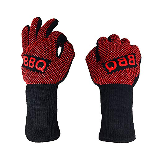 VEZARON Protective Grilling Mitts & Potholders BBQ Grilling Gloves Extreme Heat Resistant Grill Gloves, Food Grade Kitchen Oven Mitts,Silicone Non-Slip Cooking Gloves (E, 1PCS)
