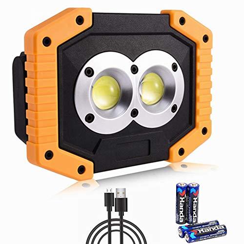 Faro de luz LED portátil, 30 W, 500 lm, COB LED, lámpara de trabajo, recargable, impermeable, 3 modos giratorio, lámpara de camping de emergencia, para pesca, senderismo, USB, cable y batería