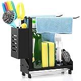 Haudang Organizador para fregadero de cocina + soporte para toallas y soporte para el pecho con bandeja extraíble para colocar en el escritorio
