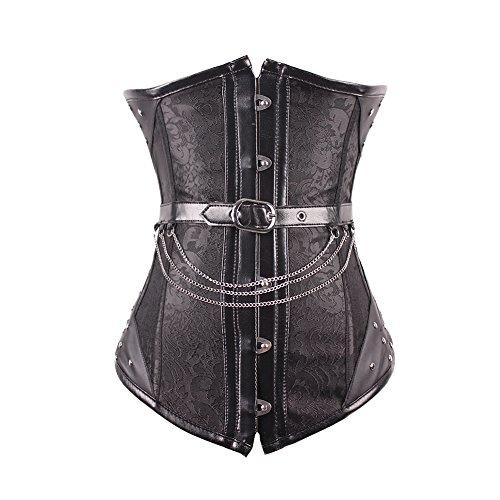 FeelinGirl Damen Vintage Corsage Top Korsett Steampunk Gothic Punk Korsage L Schwarz mit 14 Stäbchen