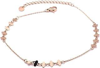 Les Trésors De Lily Q0921 - Catena cavigliera acciaio 'Chorégraphie' rosa dorato - quadrifogli 4x4 mm.