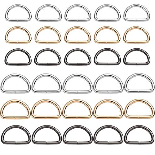 Gativs D-Ring 30 Stück D-Ringe Metall Ring D-Ringe-Halbringe Verschiedene D Ringe Verschiedene D Ringe Mehrzweck Metall D Ring Materialstärke 3mm für Hundeleine Taschen Gürtel DIY Zubehör