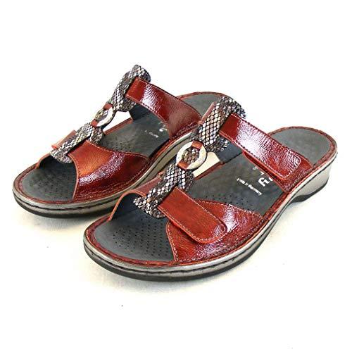 Stuppy Damen Schuhe Pantoletten Leder rot Bordo Lack 14117 Wechselfußbett, Größe:38 EU