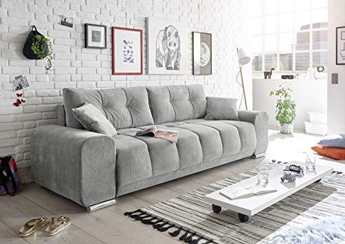 Stella Trading PACO Bequemes Schlafsofa mit Bettkasten, Stoffbezug Schlamm - Klappbares Sofa mit Schlaffunktion und dekorativer Steppung - 260 x 95 x 90 cm (B/H/T)