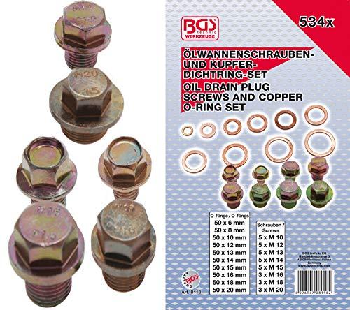 BGS 8118 | Ölwannenschrauben- und Kupfer-Dichtring-Sortiment | 534-tlg