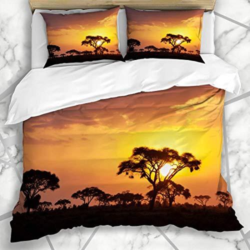 HARXISE Bettwäsche - Bettwäscheset Safari Typische afrikanische Sonnenuntergang-Akazien-Bäume Afrika-Masai-Natur Kenia Savanna Panorama Microfiber Decorative Shams Mikrofaser weich dreiteilig200*200