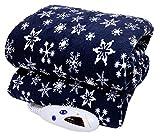 Biddeford Microplush Electric Heated Warming Throw Blanket Navy Blue Snowflake Washable Auto Shut Off