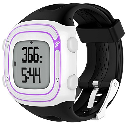 TUSITA Correa para Garmin Forerunner 10 15 (Gran Pantalla de 2.5cm) - Banda de Silicona de Repuesto con Pellicola - Accesorios de Reloj Inteligente GPS
