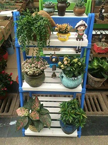 ZXS668 massief hout bloem standaard binnen en buiten balkon woonkamer bloempot rek blauw meerlaags
