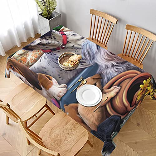 Dogs On A Bench With Headphone Rectangle Tablecloth Wedding Party Dining Room Picnic Kitchen Washable Table Cover Decoration, 60 W X 90 L inches