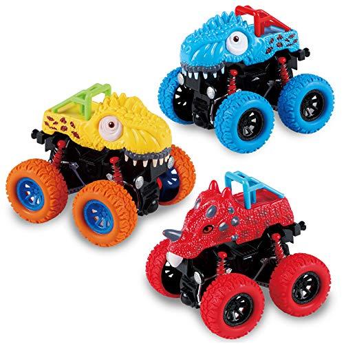 Tacobear 3 Stück Dinosaurier Autos Spielzeug für Kinder Dinosaurier Ziehen Autos Zurück mit Großem Reifenrad Geschenk Spielzeug für Jungen Mädchen 3 4 5 6 7 8 Jahren