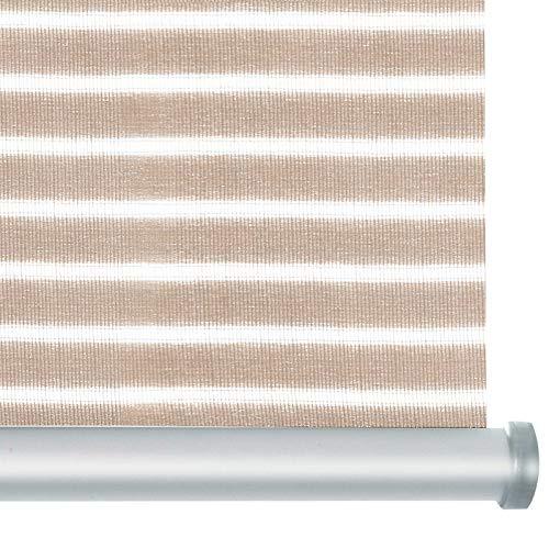 casa pura® Rollo Deluxe Stripe Beige | Blickdicht & lichtdurchlässig | Klemmrollo für Fenster, auch ohne Bohren anbringbar | mit Metallschiene und -Kette | 9 Größen (120x150cm)