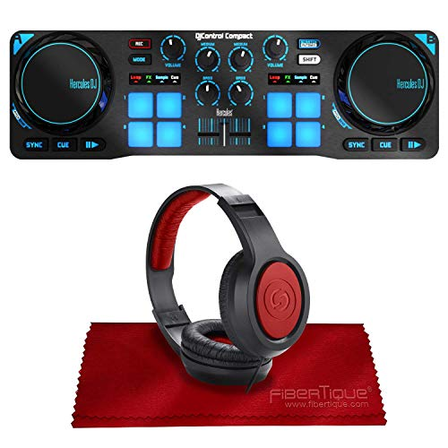 Great Price! Hercules DJControl Compact Controller for Serato DJ Software w/Headphones + Basic Acces...