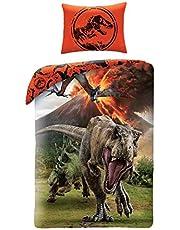 Jurassic World Dinosaure. Sängöverdrag, bomull, för enkelsäng