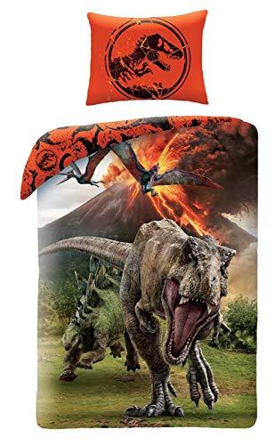 Jurassic World Dinosaure - Juego de cama (algodón, funda nórdica de 1 plaza)