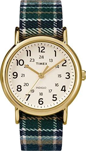 Timex TW2P89500 Unisex Indiglo Weekender Slip-Thu Plaid Fabric Strap Watch