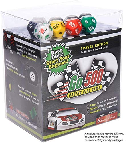 Zobmondo Go500 Car Racing Dice Game | Great for NASCAR Fans, Families, and Kids | Portable Fun Game for Home, Travel, Camping, Bleachers, Vacation, Beach