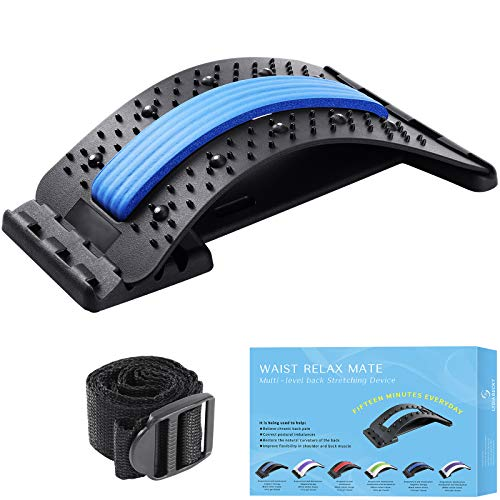 Back Stretching Device,Back Massager for Bed & Chair & Car,Multi-Level Lumbar Support Stretcher Spinal, Lower and Upper Muscle Pain Reliefwith Magnetic Acupressure Points,Posture Corrector