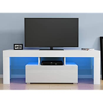 Meuble TV LED 120 cm Blanc Laqué Collection Cosmos