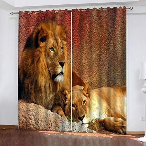 ZXPAG 3D Cortina Opaca Con Ojales Cortinas Térmicas Aislantes Decoración Ventanas - Impresión Digital Cocina De Dormitorio De La Sala De Estar - 183X214Cm - León Animal Dorado