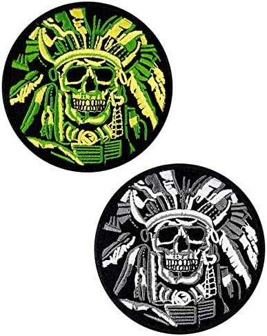 JumpyFire Tactical Skull Velcro Patch 2 PCS Embroidered Military Morale Patches for Backpack product image