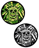 JumpyFire Tactical Skull Velcro Patch, 2 PCS Embroidered Military Morale Patches for Backpack Hat Jacket Jeans Uniform