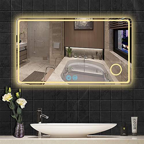 AYYEBO Rectangular Espejo Tocador con Luz Retroiluminada LED Espejo Pared para Baño Anti Niebla Función Atenuación Aumento 3X (Size : 60x80cm)