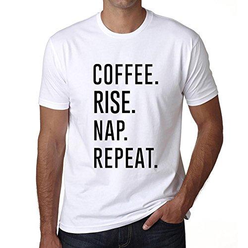 Coffee Rise Nap Repeat, Camisetas para Hombre, Camisetas con Palabras, Camiseta Regalo