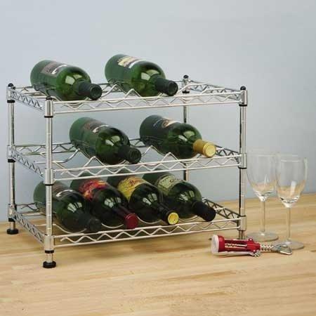 Seville Classics Stapelbares 12 Flaschen Weinregal, Silber, 44.5 x 29.2 x 30.5 cm