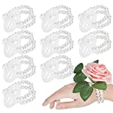 24 Pieces Elastic Pearl Wrist Bands Corsage Accessories Wedding Wrist DIY Artificial Flowers Decor for Wedding Festival Beach Party