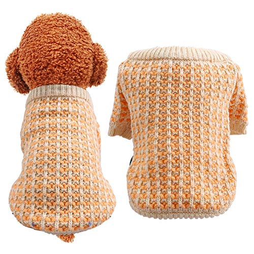 LOYY Pets Dog Winter Orange Wafer Sweater Pet Dogs Clothes Winter French Bulldog Clothing for Small Medium Large Dogs Pets Outfits Dog Sweater Pet Coat for Dog Clothes