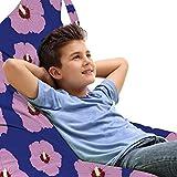 ABAKUHAUS Hibiskus Unicorn Toy Bag Lounger Stuhl, Rhythmische Leuchtende Blumen, Hochleistungskuscheltieraufbewahrung mit Griff, Dark Blue rubinfarbenen Flieder