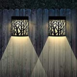 Solar Wall Lights Outdoor Decorative, Outdoor Wall Sconce Black Forest Lighting, 2 Modes, Black, 2 Pack