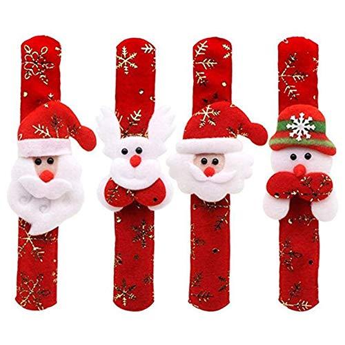 BULABULA Juego de 4 pulseras con diseño de Papá Noel, muñeco de nieve y ciervos