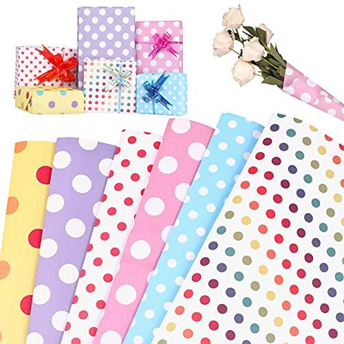 Eokeey Geschenkpapier,6 Stück Punktfarben Wrapping Paper,recycelbares kinder Geburtstag geschenkpapier für DIY,Geburtstag, Valentinstag, Muttertag, Kindertag,Weihnachten, Hochzeit(70cm x 50cm)
