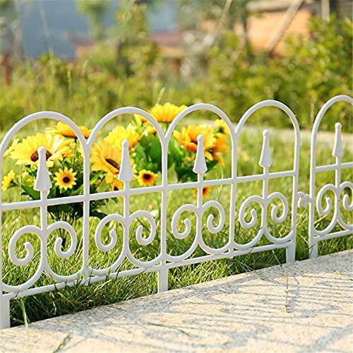 FUFRE 5 Stücke Beetzaun Kunststoff aus Wetterfestem Gartenzaun Kunststoff Anthrazit, Steckzaun Schöner Dekorative für Garten, Park, Rasen, Gemüsegarten (Weiß)