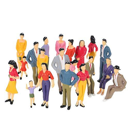 Walmeck- 20 Pcs Maßstab 1:25 Gebäude Layout Mix gemalt Modell Menschen Zug Street Passagier Figuren