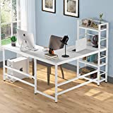 Tribesigns 59 Inch L Shaped Desk with Storage Bookshelf, Reversible Corner Desk with 4 Tier Shelves for Home Office, Space-Saving L Shaped Computer Desk Writing Study Table PC Gaming Desk(White)