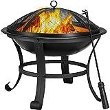 Yaheetech Garten Feuerstelle mit Funkenschutz & Schürhaken- 54 x 49.5cm (Dx H)- Vierbeinige Feuerschale auf Ihrer Terrase- Formstabil- Outdoor Feuerkorb schwarz, hitzebeständige Beschichtung