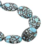 Perlin Hilo de piedras preciosas turquesas, mosaico, piedras preciosas, perlas azules, con agujero para enhebrar, perlas para joyas, piedras preciosas (24 x 18 x 9 mm, ovalado)
