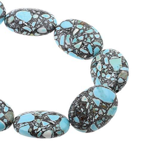 Perlin Edelstein Strang Türkis Mosaik Steine Edelsteine Perlen Blau Perle mit Loch zum auffädeln Schmuckperlen Schmuckstein Perlenstrang (24x18x9 mm Oval)