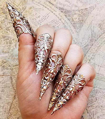 5 Silver Brass Nail Armour Rings, Cosplay Accessories, Long Sharp Nail Claws, Stiletto Nail Rings, Vampire Nails, Costume Nails, Dragon Nails