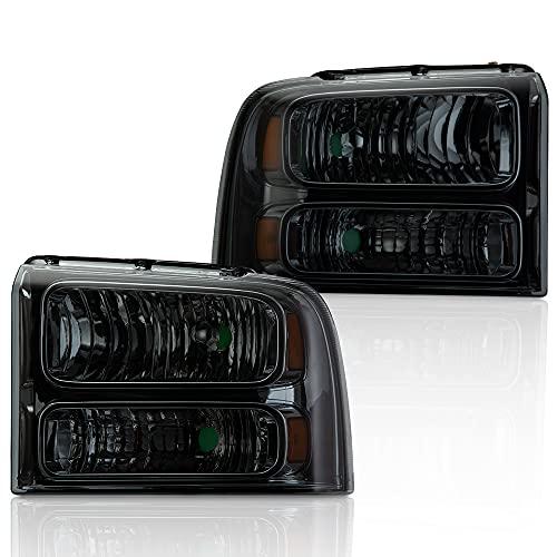 2PCS Left & Right Smoke Lens Amber Corner Headlight Compatible for Ford Super Duty 2005-2007 F250 F350 F450 F550 Headlamp