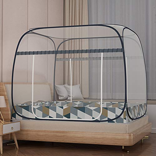 Pop Up Moskitonetz für Doppelbett, Portable Zelt Travel Doppeltür Reißverschluss Bettnetz, einfache Installation, feinmaschig, für Schlafzimmer Outdoor Camping, Insektenschutz,1gray,1.8*2.0m