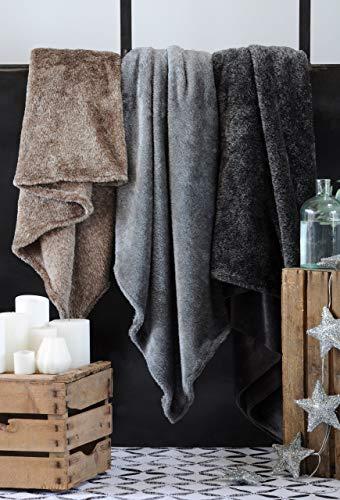 TIENDA EURASIA Mantas para Sofá - Material 100% Microfibra - Tacto Suave - Manta de Diseño Modelo Hermine - Medidas: 130 x 160 cm (Gris)