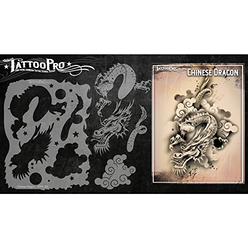 Tattoo Pro Airbrush Stencil Series 1 - Chinesischer Drache, Mylar Airbrush Tattoo Schablone, wiederverwendbare Gesichts-Farben-Schablone