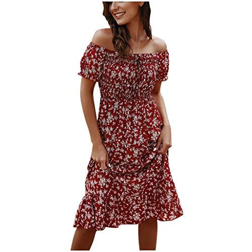 Briskorry Kleider Damen Mode bohemian kleider Blumenmuster Schulterfrei Rüschen Kurzarm Sommerkleid Strandkleid midi kleider festliche kleider