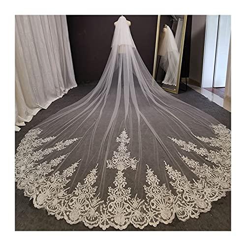 xinlianxin Velo largo de encaje para novia de 4 metros, blanco marfil velo de novia con peine, colorete para novia, accesorio de boda (color blanco, longitud del artículo: 400 cm)
